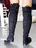 Женские Высокие Черные Сапоги Ботфорты со шнуровкой р.36,37,38