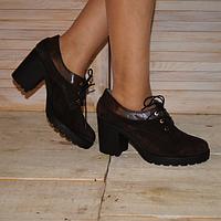 Женские туфли из натуральной замши коричневого цвета