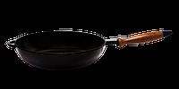 Сковорода сотейник с деревянной ручкой d=260, h=60, покрытая цветной глянцевой эмалью. Черный цвет, фото 1