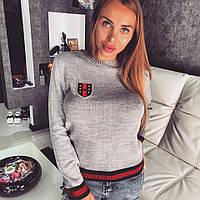 """Женский стильный вязанный джемпер """"DORATTI"""" 0018 / серый"""