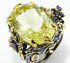 Кольцо ручной работы из серебра 925 пробы с натуральным лимонным кварцем, сапфиром и аметистом Размер 17