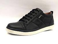 Туфли для мальчиков кожаные черные, синие на шнуровке 0014МАР