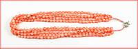 """Бусы """"монетки"""" из пяти ниток редкого розового коралла"""