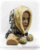 Меховой платок с норковой полосой (бежевый)
