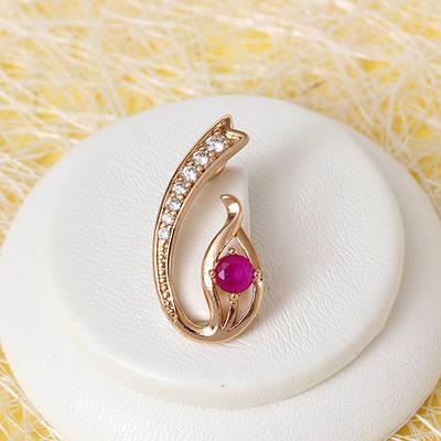 010-0708 - Кулон с фианитами цвета корунда и прозрачными розовая позолота