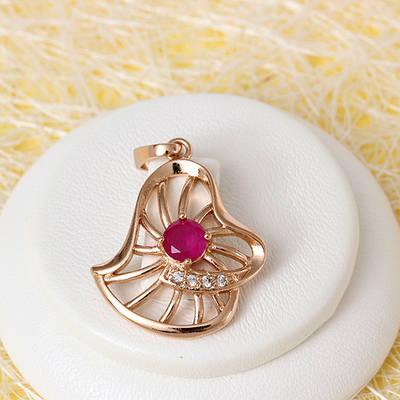 R4-0709 - Кулон с фианитами цвета корунда и прозрачными розовая позолота