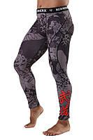 Мужские компресионные серые штаны с принтом для спорта Samuray black