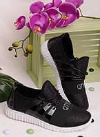 Черные кроссовки на шнуровке 15368