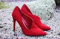 Стильные женские туфельки лодочки красного цвета, фото 1