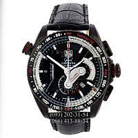 Мужские часы TAG Heuer кварцевые черный корпус и ремешок циферблат черный с белой маркировкой