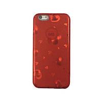 Чехол силиконовый Mask Collection Красные сердечки для iPhone 6