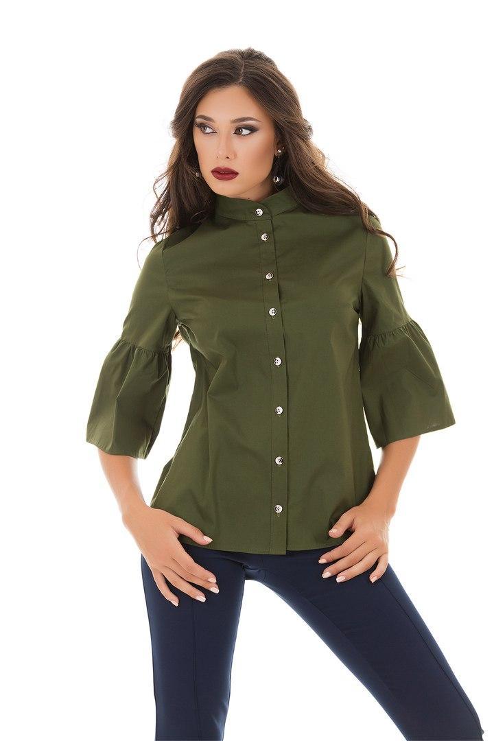 Рубашка izida из плотного коттона с рукавом колокол цвета хакикод 4/8256