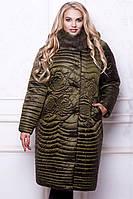 Элегантное двубортное зимнее стеганое пальто  батальных размеров Разные цвета
