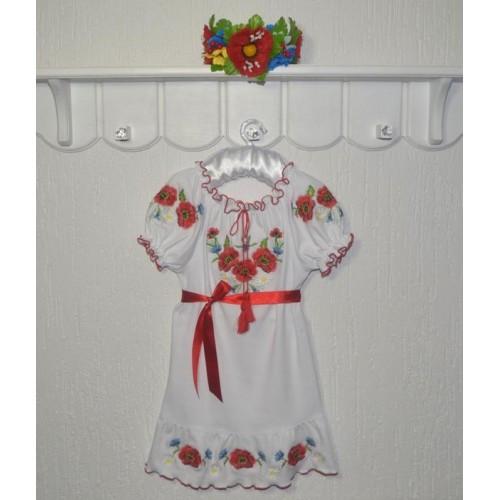 Вышиванка - платье для девочки Маки короткий рукав