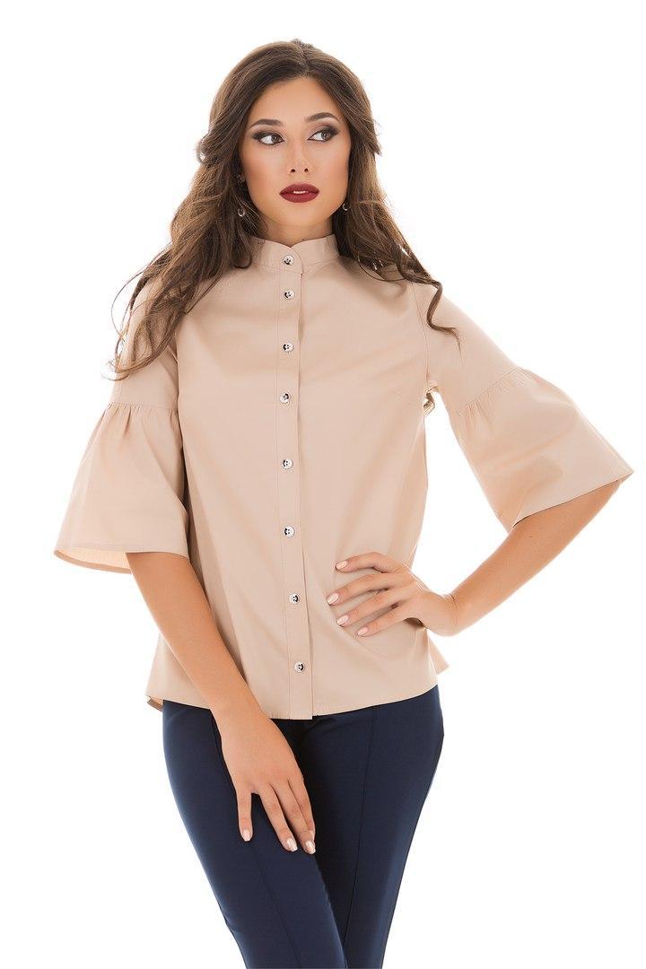 Рубашка izida из плотного коттона с рукавом колокол цвета беж код 4/82571