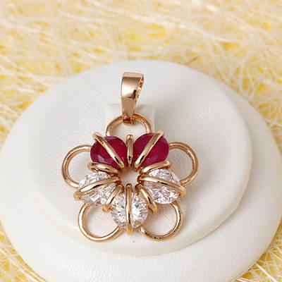 010-0716 - Кулон с фианитами цвета корунда и прозрачными розовая позолота