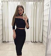 Костюм юбка-карандаш кроп-топ чокер