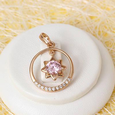 R4-0717 - Кулон с розовым и прозрачными фианитами розовая позолота