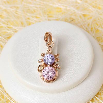 010-0718 - Кулон с цветными фианитами розовая позолота