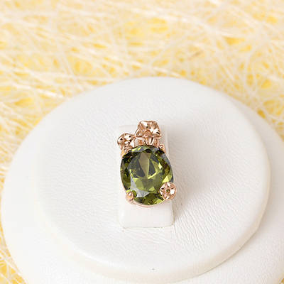 R4-0721 - Кулон с тёмным оливково-зелёным фианитом розовая позолота