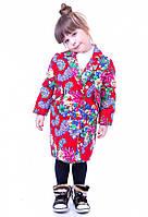 Пальто для девочки c цветочным орнаментом JoJo