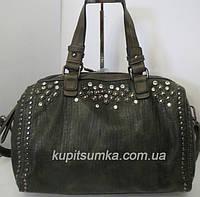 Женская сумка тёмно - зелёного цвета с красивым декором страз