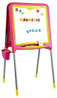 Двусторонний мольберт на металлических ножках розовый Smoby 410303