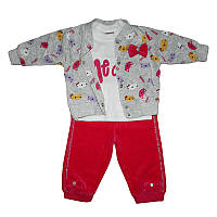 Костюм для девочки велюр 68-86  3-ка, 2 кофточки+штаны, арт.1054