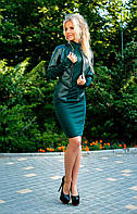 """Комбинированный женский костюм-двойка """"Hayden"""" с кожаным жакетом (2 цвета)"""