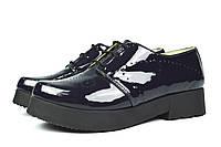 Потрясные синие лаковые женские туфли Ari Andano из натуральной кожи( новинка весна, осень, лето )
