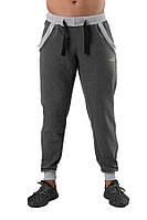 Мужские спортивные штаны  серые с резинкой снизу