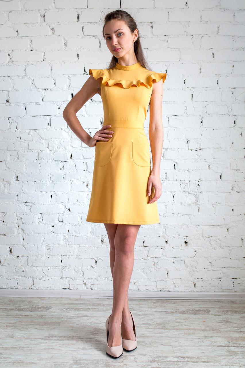 Повседневное  женское платье короткое с воланом