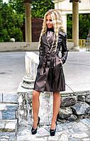 """Стильный кожаный женский плащ """"C&W"""" с поясом и карманами (3 цвета)"""