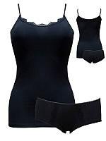 Комплект женский «WSS BL» майка + шорты с кружевом