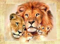 Алмазная вышивка семья львов 25х30 см, фото 1