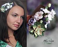 """Гребень для волос сцветами """"Зеленый суккулент с пионом,анютками и гортензиями"""", фото 1"""