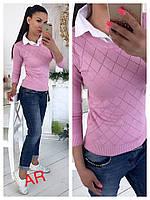 Турецкий реглан с имитацией рубашки белый воротничок (разные цвета)