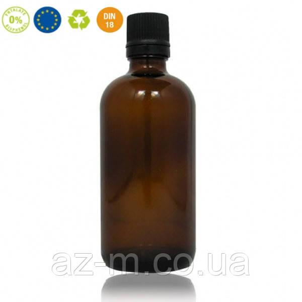 Стеклянная бутылка с крышкой и дозатором (янтарь), 100 мл
