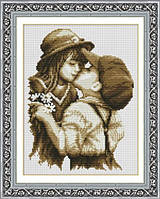 """Вышивка крестиком """"Первый поцелуй"""" 40х32 см"""