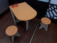 Стол + 2 стула деревянный оранж.