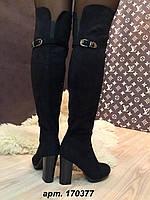 """Ботфорты осенние """"Вика"""" черные на устойчивом каблуке код 1823"""
