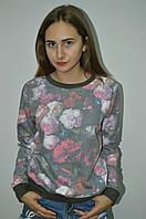 Молодежная кофта свитшот  цветочным принтом Турция