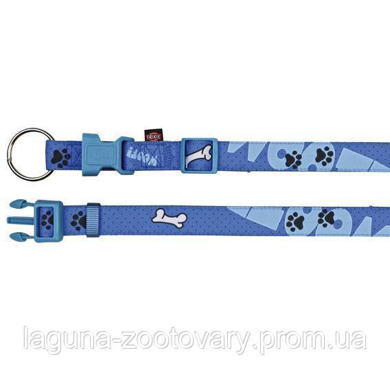 "Ошейник 45 - 55 см/15мм  ""WOOF"" для собак, нейлон, синий"