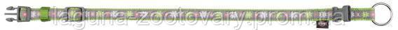 """Ошейник"""" Blooms""""(нейлон)30 - 45см/15мм, зелёный, для собак"""