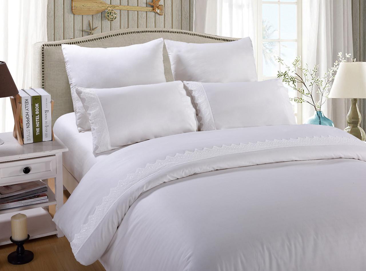 Евро комплект постельного белья сатин с кружевом Инесса