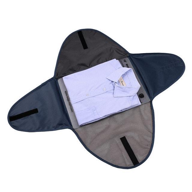 Папка-органайзер для рубашек, брюк и юбок синяя разложенная
