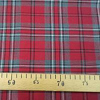 Костюмная шерстяная ткань Шотландка (красно-серая клетка), фото 1