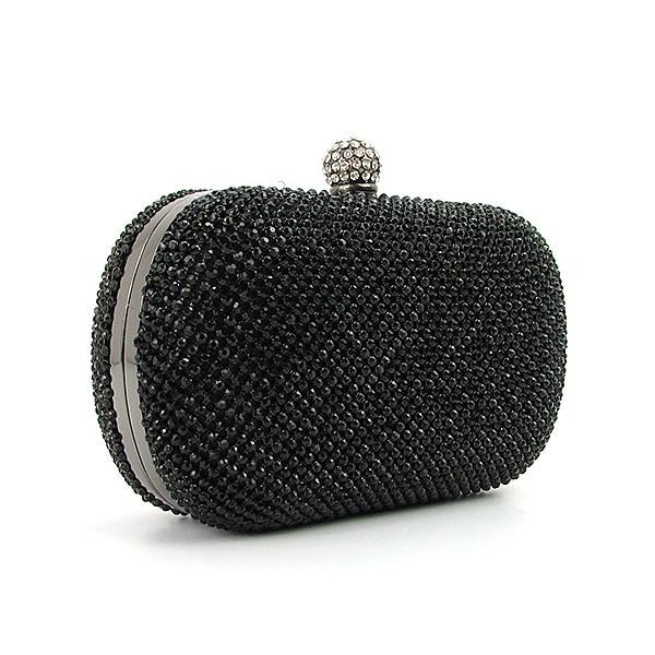 76ecdecbc35c Черный вечерний клатч из камней Rose Heart на цепочке маленький через плечо  - Интернет магазин сумок