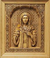 Різьблена ікона Святої мучениці Тетяни із ажурною рамкою, фото 1