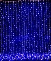 Гирлянда уличная светодиодная (LED) водопад (синий), 3х2 м.